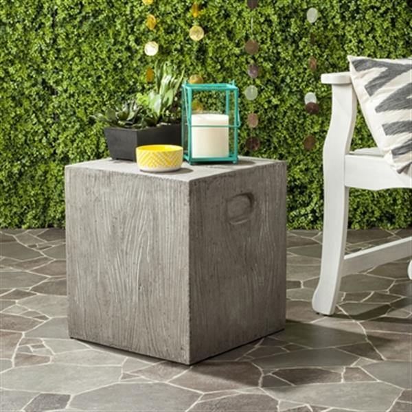 Safavieh Cube 16.50-in Dark Grey Concrete Outdoor Accent Table