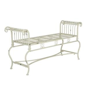 Safavieh Brielle 25.5-in x 52-in Antique White Outdoor Bench