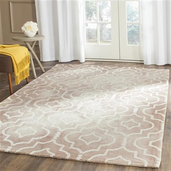 Safavieh Dip Dye 2-ft x 12-ft Trellis Hand-Tufted Wool Beige and Ivory Area Rug