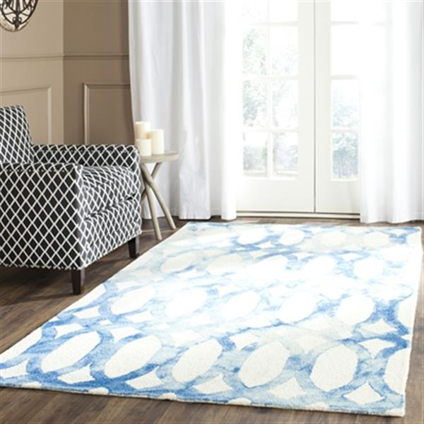 Safavieh Dip Dye 2-ft x 12-ft Geometric Hand-Tufted Wool Ivory and Blue Area Rug