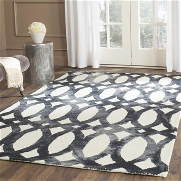 Safavieh Dip Dye 2-ft x 12-ft Geometric Hand-Tufted Wool Ivory and Graphite Area Rug