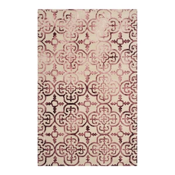 Safavieh Dip Dye 4-ft x 6-ft  Overdyed Hand-Tufted Wool Beige and Maroon Area Rug