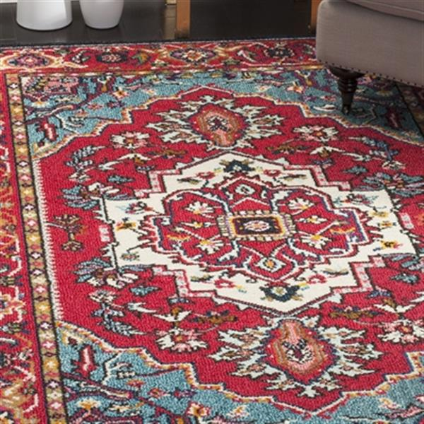 Safavieh Monaco 5-ft x 8-ft Border Red and Turquoise Area Rug