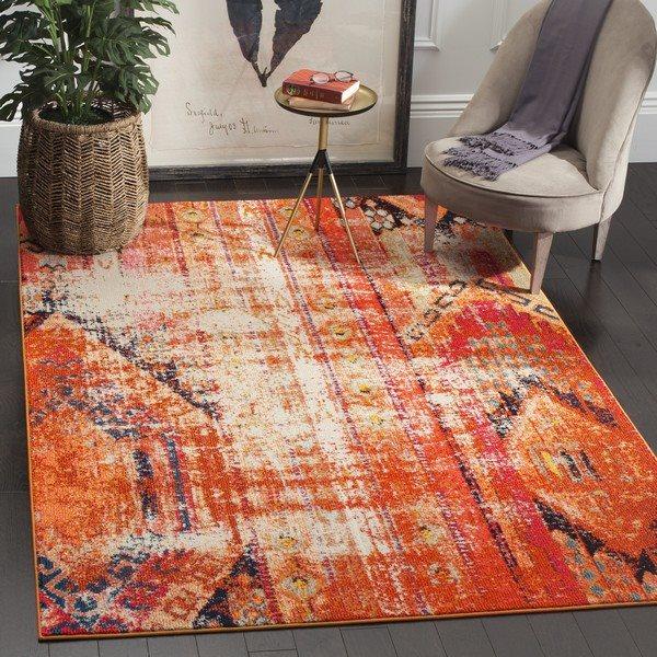 Safavieh Monaco 5-ft x 8-ft Southwestern Orange Multicolor Area Rug