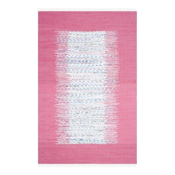 Safavieh Montauk 6-ft x 9-ft Pink Rectangular Flat Weave Ivory and Pink Area Rug