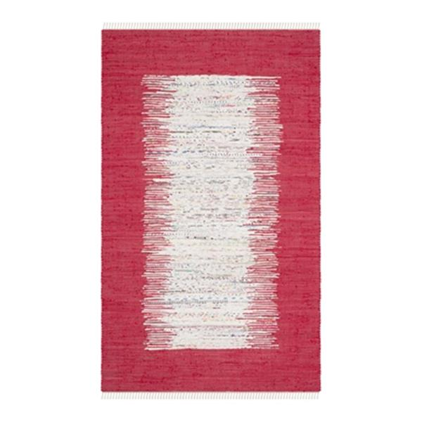 Safavieh Montauk 6-ft x 9-ft Red Rectangular Flat Weave Ivory and Red Area Rug
