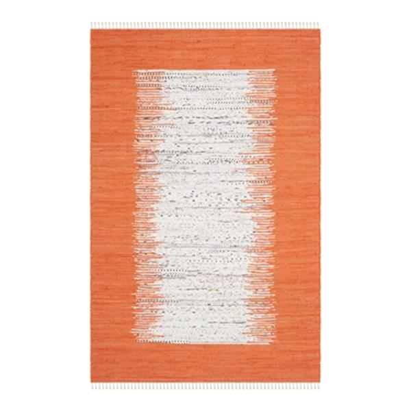 Safavieh Montauk Flat Weave Ivory and Orange Area Rug,MTK711