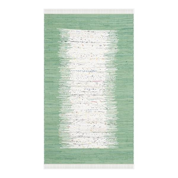 Safavieh Montauk 6-ft x 9-ft Green Rectangular Flat Weave Ivory and Sea Green Area Rug