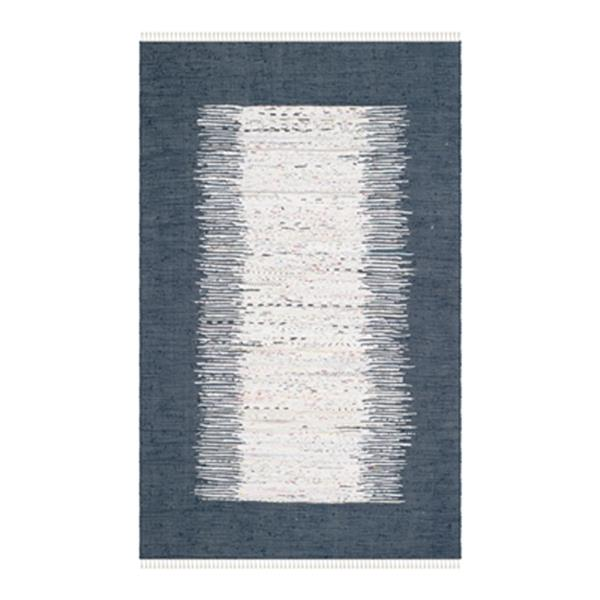 Safavieh Montauk 6-ft x 9-ft Blue Rectangular Flat Weave Ivory and Navy Area Rug