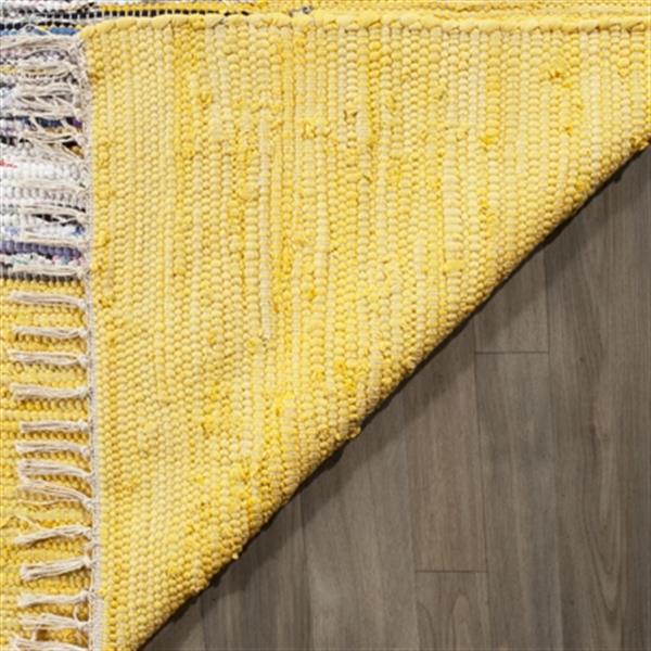 Safavieh Montauk 6-ft x 9-ft Yellow Rectangular Flat Weave Ivory and Yellow Area Rug