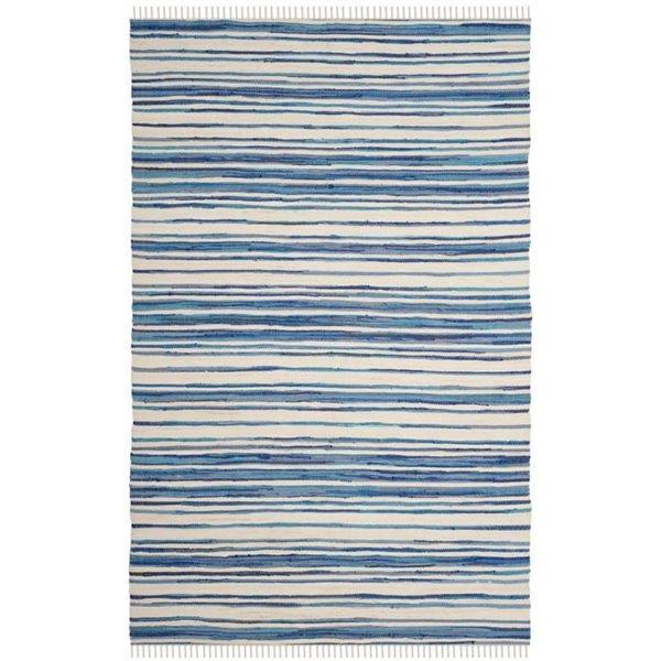 Safavieh Rag Rug 6-ft x 9-ft Blue Rectangular Cotton Ivory and Blue Indoor Area Rug