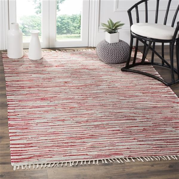 Safavieh Rag Rug 9-ft x 6-ft Cotton Red Multicolour Indoor Area Rug