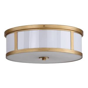 Safavieh Avery 17-in Antique Gold 2-Light Flush Mount Ceiling Light