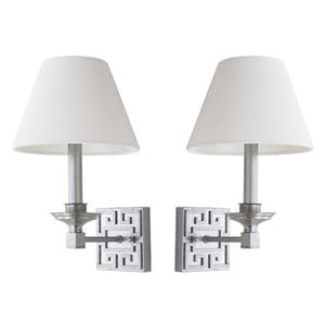 Safavieh 15-in Silver Elvira Greek Key Wall Sconce (Set of 2)