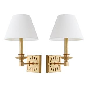 Safavieh 15-in Gold Elvira Greek Key Wall Sconce (Set of 2)