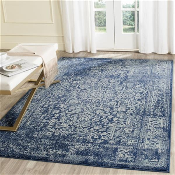 Safavieh Evoke 21-ft x 2.16-ft Navy and Ivory Indoor Area Rug
