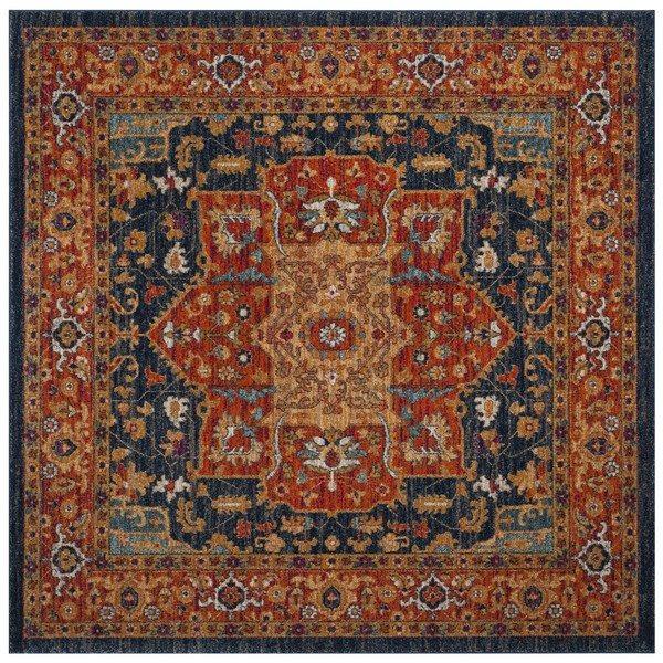 Safavieh Evoke 6.58-ft x 13.33-ft Blue and Orange Indoor Area Rug