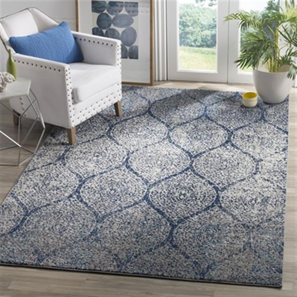 Safavieh Madison 9.16-ft x 6.58-ft Navy and Silver Area Rug