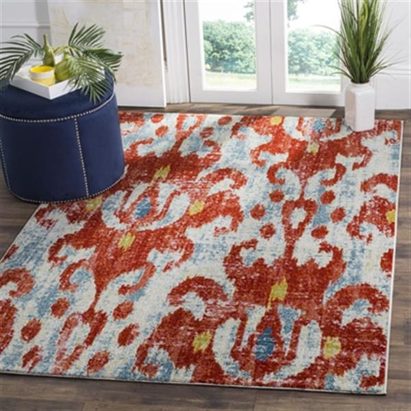 Safavieh Watercolour 7.5-ft x 5.25-ft Brick and Light Blue Indoor Area Rug