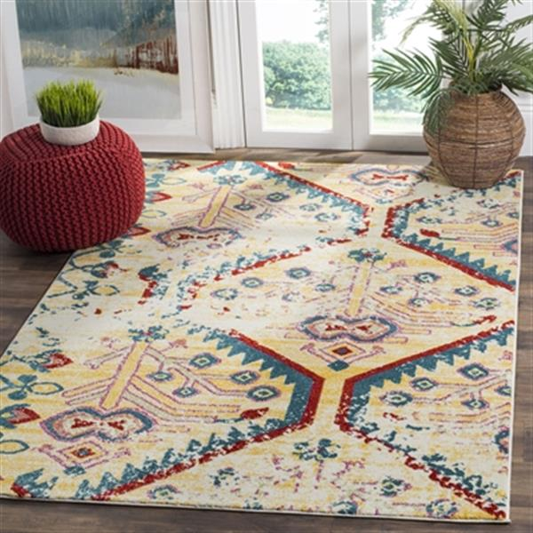 Safavieh Watercolour 7.5-ft x 5.25-ft Light Yellow and Blue Indoor Area Rug