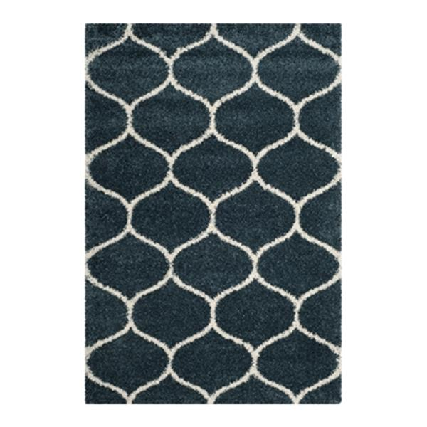 Safavieh Hudson Shag 7.5-ft x 5.08-ft  Slate Blue and Ivory Area Rug