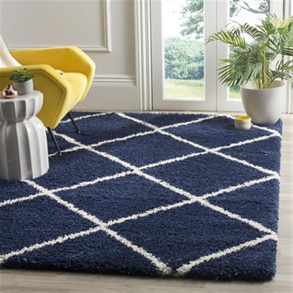 Safavieh Hudson Shag 7.5-ft x 5.08-ft  Navy and Ivory Area Rug