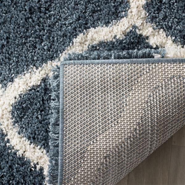 Safavieh Hudson Shag 7.5-ft x 5.08-ft Blue and Ivory Area Rug