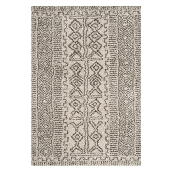 Safavieh Hudson Shag 7.5-ft x 5.08-ft Ivory and Grey Area Rug