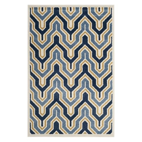 Safavieh Amherst 8-ft x 5-ft Ivory and Blue Indoor/Outdoor Rug