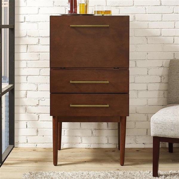 Crosley Furniture Everett 47.25-in x 24.5-in Mahogany Spirit Cabinet