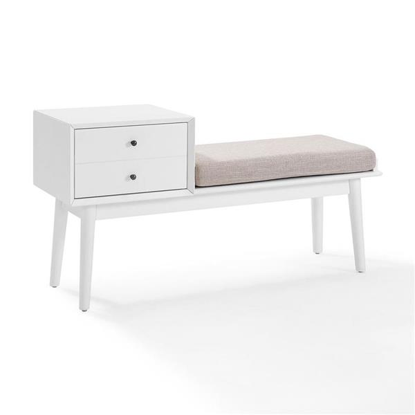 Crosley Furniture Landon 24.75-in x 46.5-in White Indoor Accent Bench with Drawer