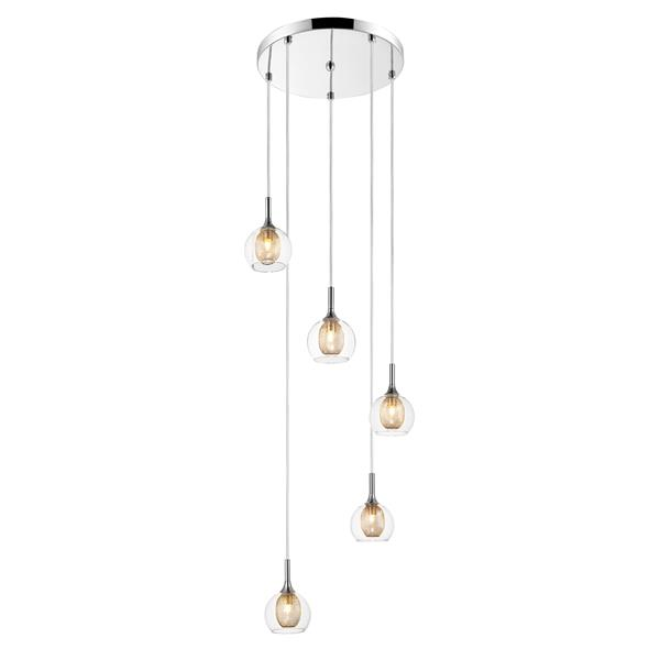 Z-Lite Auge Chrome 5 Light Pendant Light