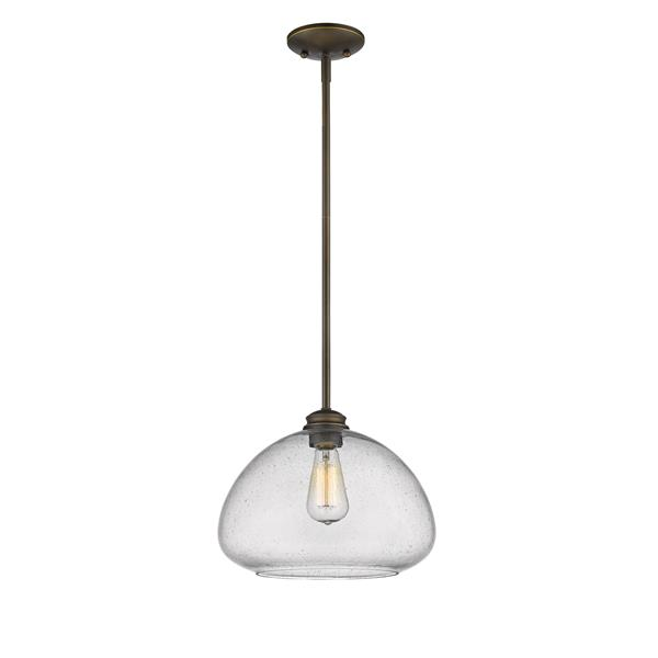 Z-Lite Amon 13-In x 10-In Bronze 1-Light Pendant
