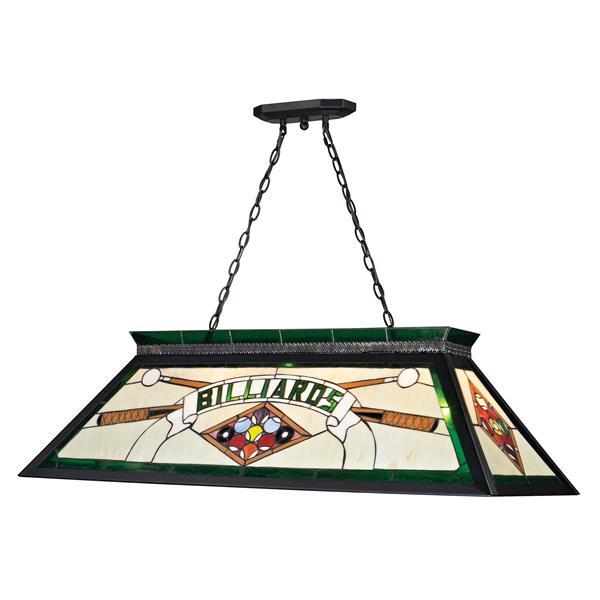 Luminaire suspendue à 4 lumières Tiffany, noir mat