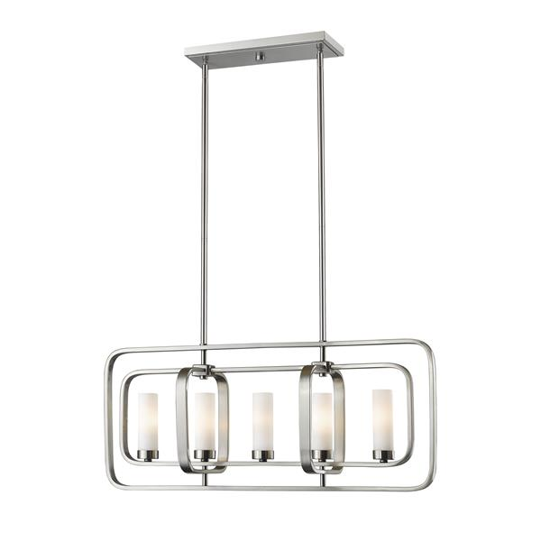 Luminaire suspendue à 5 lumières Aideen, nickel brossé