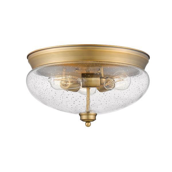 Z-Lite Amon 3 Light Brass Flush Mount Light