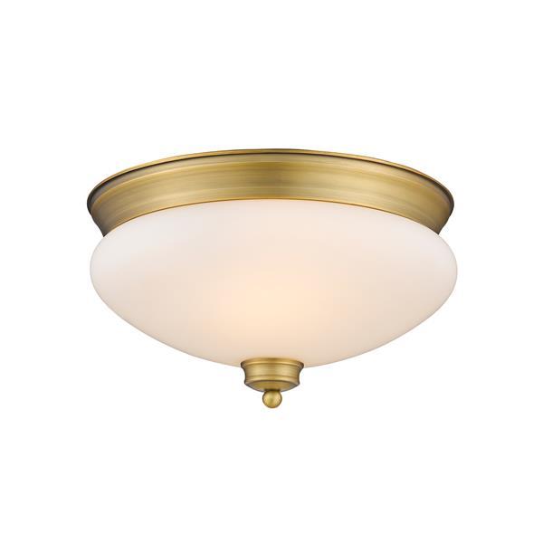 Z-Lite Amon 2 Light Brass Flush Mount Light