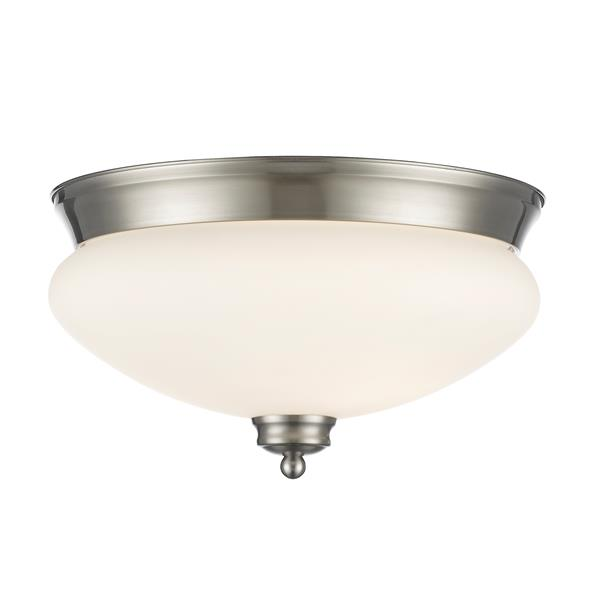 Z-Lite Amon 2 Light Brushed Nickel Flush Mount Light