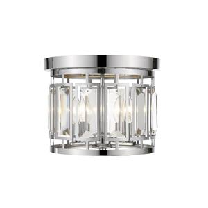 Z-Lite Mersesse 12.5-in Chrome 3-Light Flush Mount Light