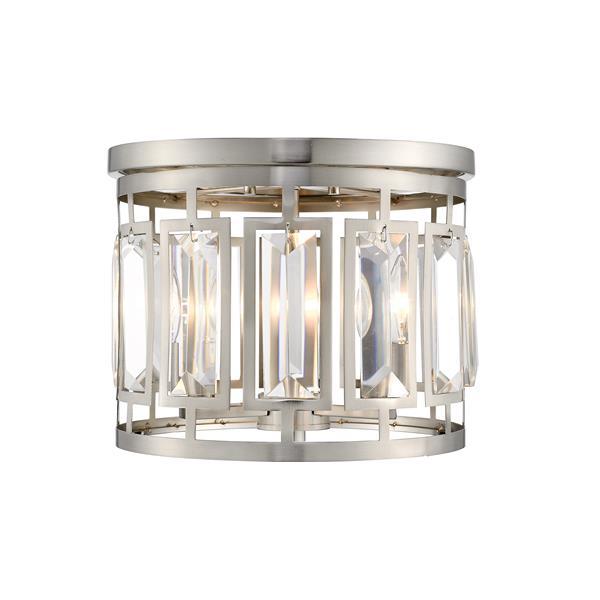 Z-Lite Mersesse 12.5-in Brushed Nickel 3-Light Flush Mount Light
