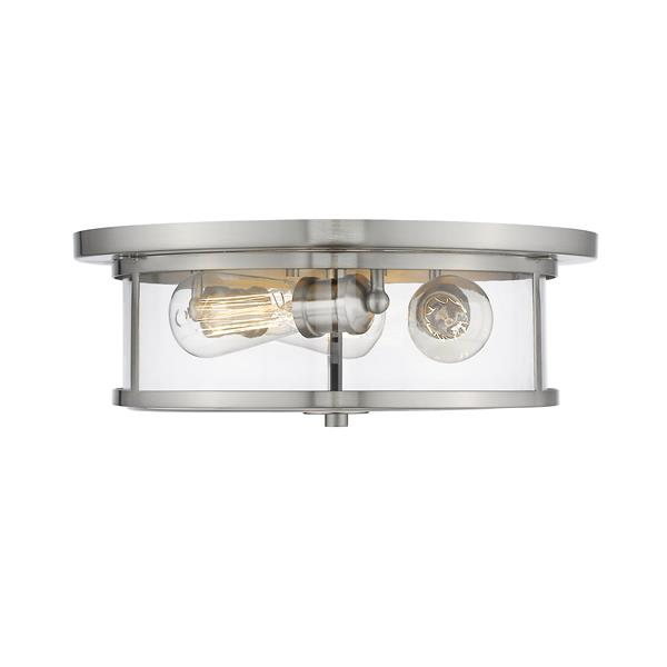 Z-Lite Savannah Brushed Nickel 3-Light Flush Mount Light