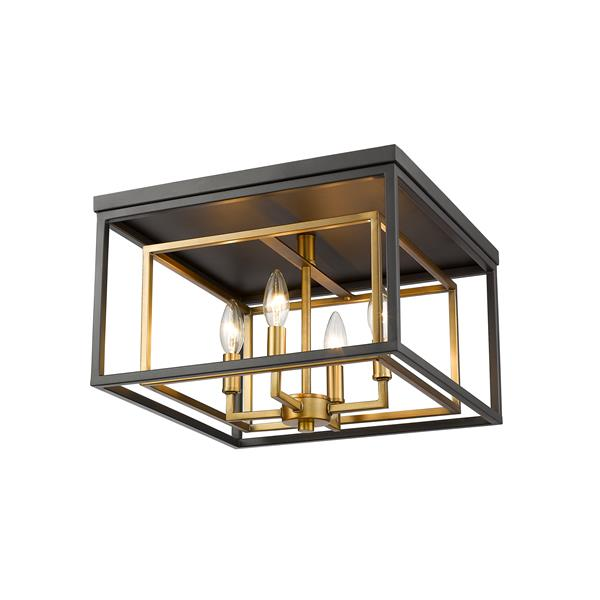 Z-Lite Euclid 15-in Brass/Bronze 4-Light Flush Mount Light