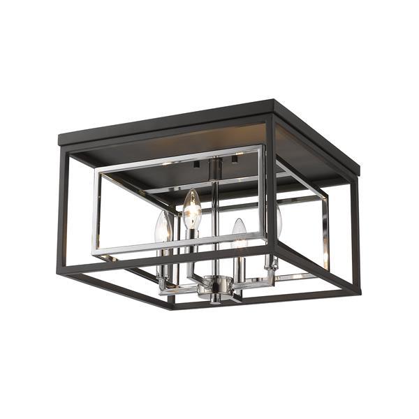 Z-Lite Euclid 15-in Chrome/Matte Black 4-Light Flush Mount Light