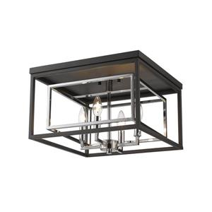 Z-Lite Euclid 15-in Chrome/Matte Black 4-Light Flush Mount Light
