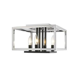 Plafonnier à 4 lumières Quadra, chrome + noir