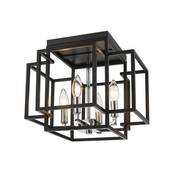Plafonnier à 4 lumières Titania, noir + chrome