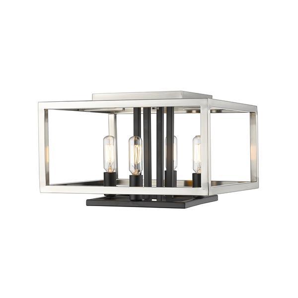 Z-Lite Quadra 4-Light Flush Mount Light- Brushed Nickel/Black