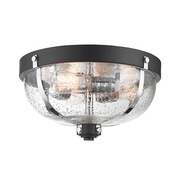 Z-Lite Burren Matte Black and Chrome 3 Light Flush Mount Light