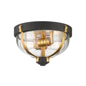 Z-Lite Burren Bronze and Brass 2 Light Flush Mount Light