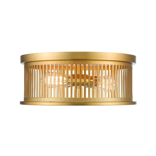 Z-Lite Camellia Brass 3 Light Flush Mount Light